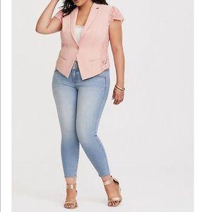 Pink Lace Cap Sleeve Jacket